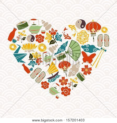 Chinese New Year Heart Shape Icon Decoration