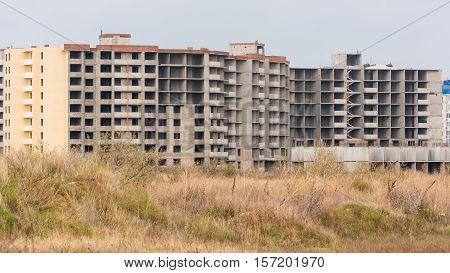 Abandoned construction of apartment multi storey houses