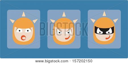 Vector illustration flat art of surprised woman, devious woman, and thief. Progression of a robber psychology concept, icons. Evil red head woman with red lipstick.