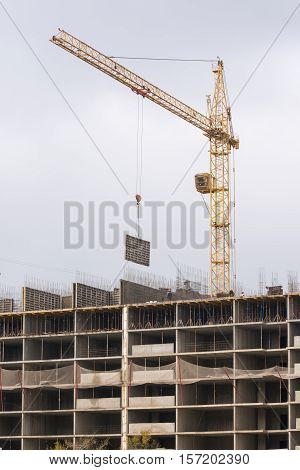 Crane Raised Formwork On Construction Of Multi-storey Residential Building
