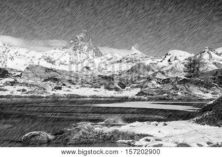 mountain landscape, filmed in the pouring rain, in B & W