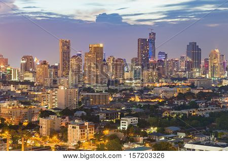 Beautiful city downtown lights night view, Bangkok central business area, Thailand