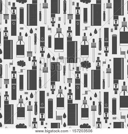 Vector seamless pattern of vape and accessories. Isolated on white background. Endless background electronic cigarette. Icons pattern for vape shop e-cigarette store