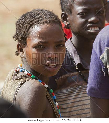 Children From Ari Tribe At Village Market. Bonata. Omo Valley. Ethiopia.