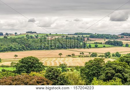 Rural English countryside of late summer fields in Middleham, North Yorkshire, England.
