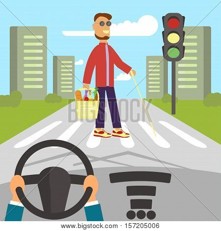 A blind man with walking stick is crossing street. Human hands driving a car on asphalt road with disability person walking on the crosswalk, car interior, flat design vector illustration.
