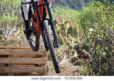 Downhill mountain bike,man cyclist to riding a bicycle