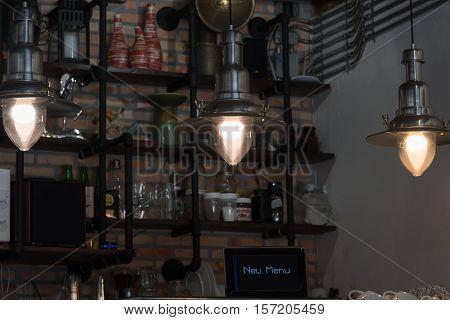 Close up Tungsten light in coffee shop