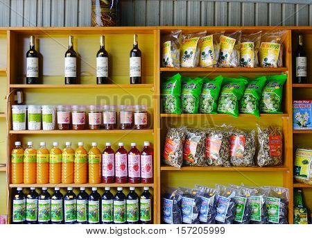 Dalat Vietnam - Nov 11 2016. Special food and drink at the supermarket in Dalat Vietnam. Da Lat is a popular tourist destination in southern Vietnam.