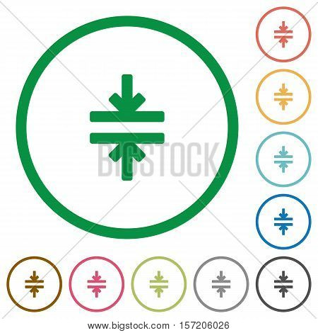Horizontal merge flat color icons in round outlines