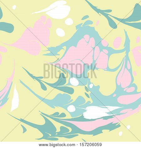 Seamless pattern with colored spots. Ebru art.