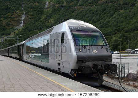 FLAM, NORWAY - JULY 3, 2016: This is train of the Flam Railway - world famous line of Norway.