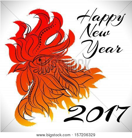 NewYear bird symbol of 2017 year, Head of Rooster - Chinese bird zodiac animal sign, vector illustration.Red Rooster oriental bird - Chinese zodiac year symbol of 2017, chinese NewYear celebration.