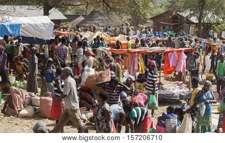 People From Ari Tribe At Village Market. Bonata. Omo Valley. Ethiopia.