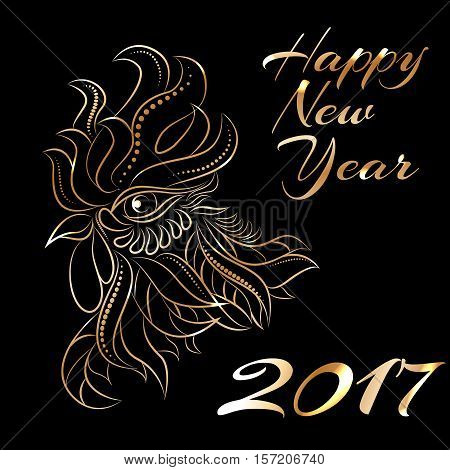 NewYear bird symbol of 2017 year, Head of Rooster - Chinese bird zodiac animal sign, vector illustration.Black Rooster oriental bird - Chinese zodiac year symbol of 2017, chinese NewYear celebration.