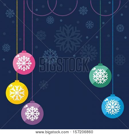 Vintage vector Christmas card. Christmas balls. Vector Illustration.