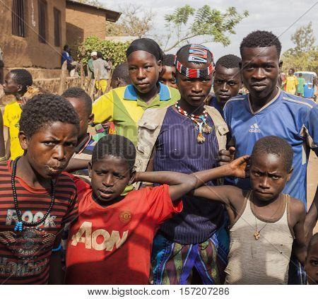 Boys From Ari Tribe At Local Village Market. Bonata. Omo Valley. Ethiopia.