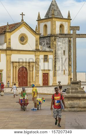 RECIFE, BRAZIL, JANUARY - 2016 - Exterior view facade of antique colonial church building located in Olinda Pernambuco Brazil