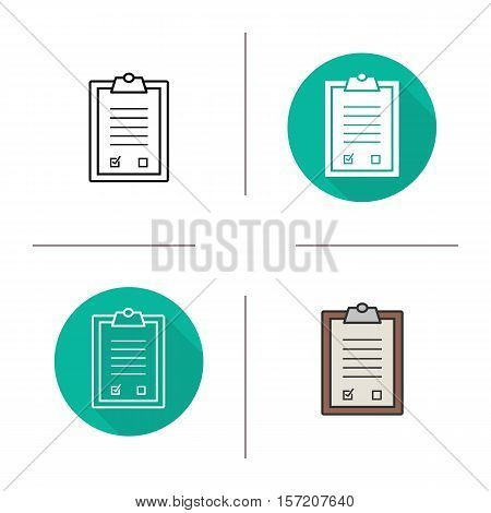 Tests clipboard checklist icon. Flat design, linear and color styles. Medical clip board. Isolated vector illustrations