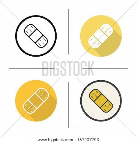 Plaster icon. Flat design, linear and color styles. Adhesive band aid. Isolated vector illustrations