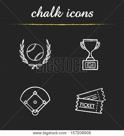 Baseball chalk icons set. Softball ball in laurel wreath, field, game tickets, trophy cup. Isolated vector chalkboard illustrations