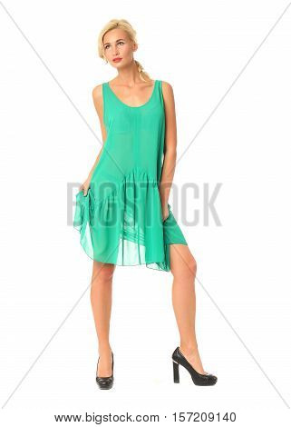 Full Length Of Flirtatious Woman In Green Dress Isolated On White
