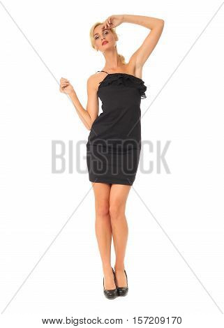 Portrait Of Flirtatious Woman In Tight Black Dress Isolated On White