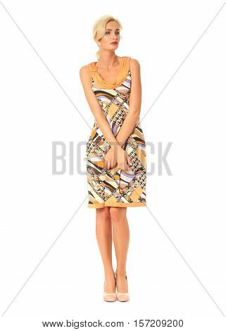 Portrait Of Flirtatious Woman In Short Summer Dress Isolated On White