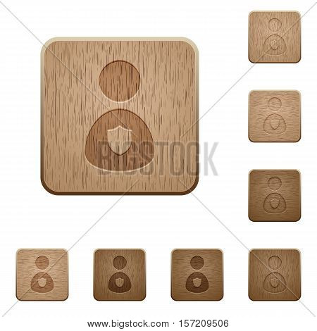 Security guard icons in carved wooden button styles
