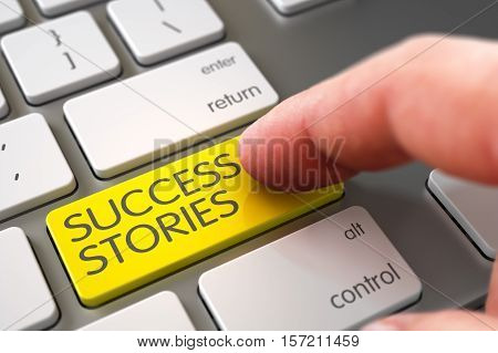 Business Concept - Male Finger Pointing Yellow Success Stories Button on Modern Laptop Keyboard. 3D Illustration.