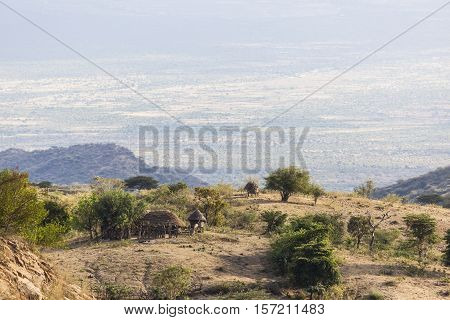 Landscape With Small Traditional Hut. Omo Valley. Ethiopia.
