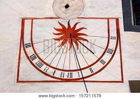 Detail of an ancient Sundial. Convent of St. John in Mustair (UNESCO world heritage site) Grisons Switzerland