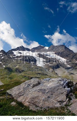 The Bernina Alps with the glacier seen from the pass of Bernina (2323 m) Engadine Switzerland Europe