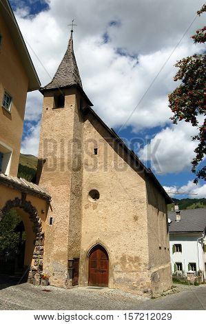 Old small church in Zuoz small town in Engadine Switzerland Europe