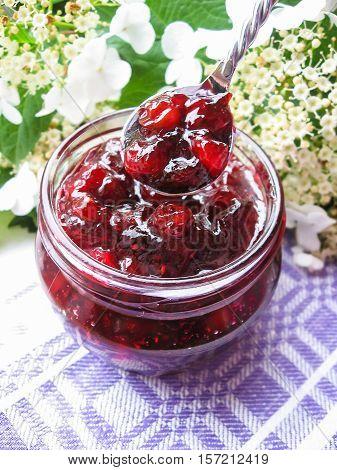Homemade cranberry sauce or marmalade in a jar, selective focus