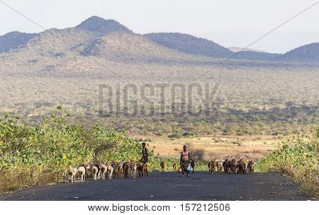 Herders On Highway In The Evening. Omo Valley. Ethiopia