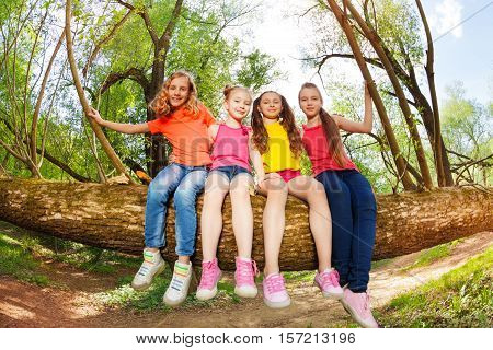Portrait of cute girl friends sitting on fallen tree stem at sunny day in the forest