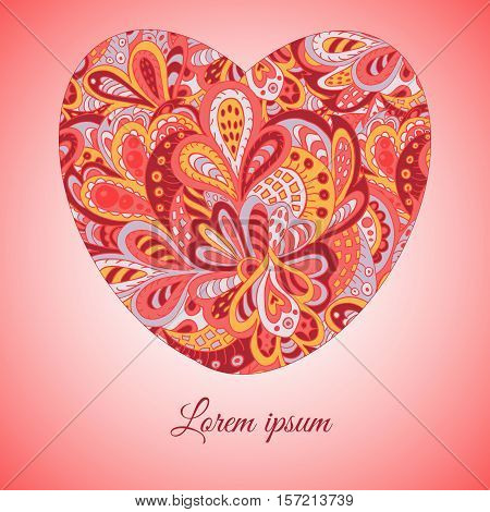 floral doodle ethnic pattern heart frame rosy for inscriptions photo. Cards labels packaging. Happy Valentine's Day!
