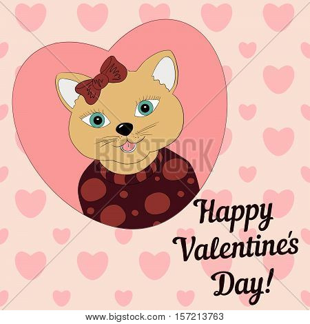 A cat with a brown bow. Print for clothing postcards.Valentine's day