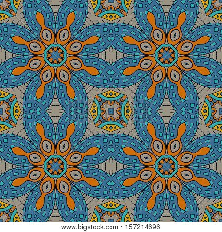 Seamless ornament. Colorful background. Ethnic motives. Zentagl. Mustard and Blue