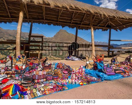 Pisac Peru - May 19 2016: Market near the entrance to Pisac ruins.