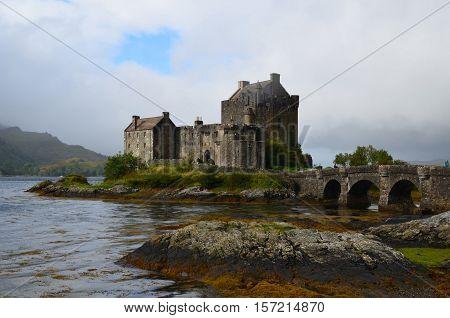 Loch Duich surrounding Eilean Donan Castle in Scotland.