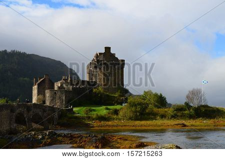 Bridge over the loch at Eilean Donan Castle in Scotland.