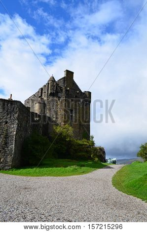 A pathway up to Eilean Donan Castle in Scotland.