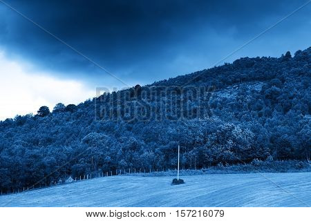 Power line on Norway hill blue background hd