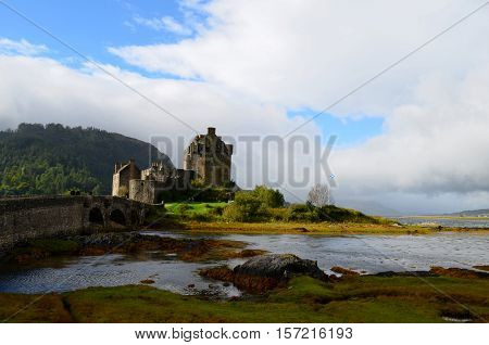 Beautiful landscape at Eilean Donan Castle in Scotland.