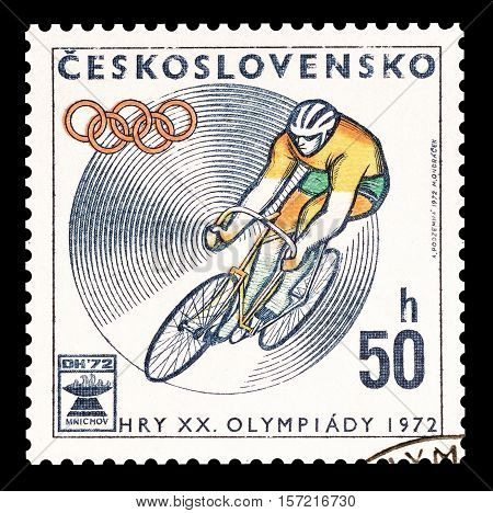 CZECHOSLOVAKIA - STAMP 1972 : Cancelled postage stamp printed by Czechoslovakia, that shows Cycling.