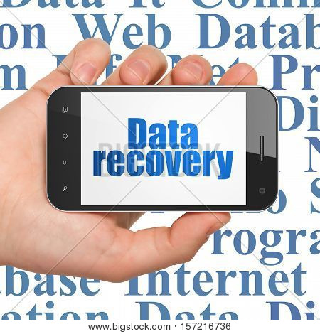 Data concept: Hand Holding Smartphone with  blue text Data Recovery on display,  Tag Cloud background, 3D rendering