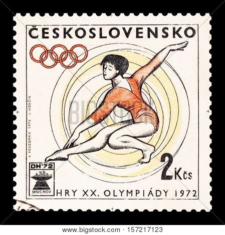 CZECHOSLOVAKIA - STAMP 1972 : Cancelled postage stamp printed by Czechoslovakia, that shows Gymnastics.