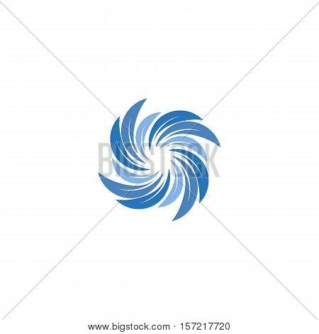 Isolated abstract blue color spining spiral logo. Swirl logotype. Water icon. Vortex sign. Liquid symbol. Conditioning system emblem. Vector aqua illustration